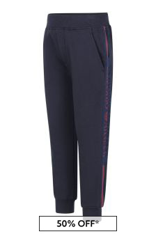 Boys Navy Blue Cotton Joggers