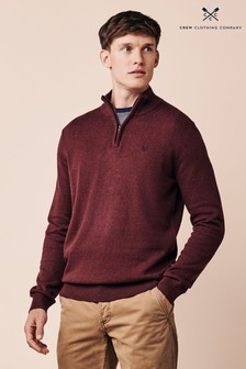 Crew Clothing Company Red Classic 1/2 Zip Knit Jumper