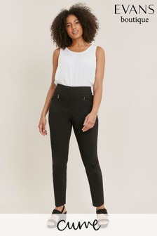 Evans Curve Black Stretch Tailored Trousers