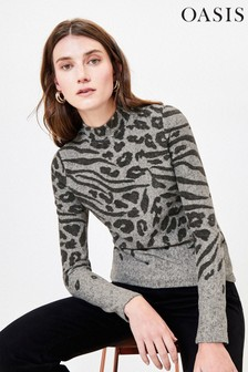 Oasis Grey Leopard Placement Jumper