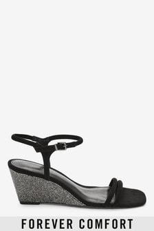 Sandalette in Schimmeroptik mit Keilabsatz und eckiger Zehenpartie
