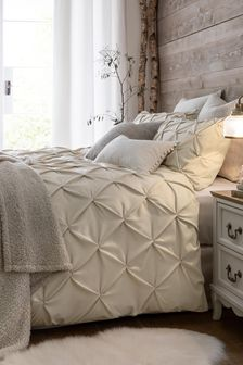 Natural Supersoft Textured Pleat Duvet Cover and Pillowcase Set