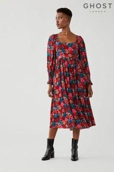 Ghost Portia Bloom Floral Print Crepe Dress