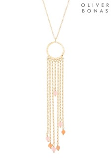 Oliver Bonas Multi Amity Multi Chain & Stone Drop Necklace