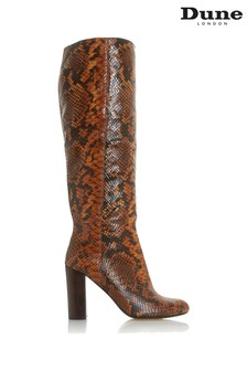 Dune London Simonne Reptile Print Leather High Boots