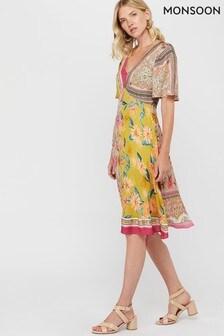 Monsoon Ladies Yellow Scandi Scarf Print Hanky Hem Dress