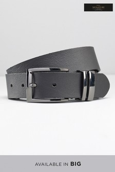 Leather Gunmetal Keeper  Belt
