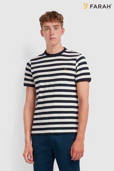 Farah Striped Ringer T-Shirt With Chest Placement Embroidered Logo