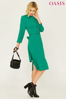 Oasis Green Wiggle Wrap Dress