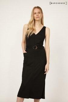 Warehouse Black V-Neck Sleeveless Midi Dress