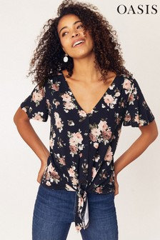 Oasis Blue Rose Button Through Tie Front Top