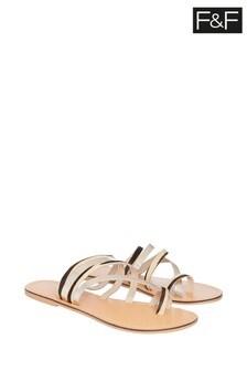 F&F Multi Leather Toe Strap Sandals