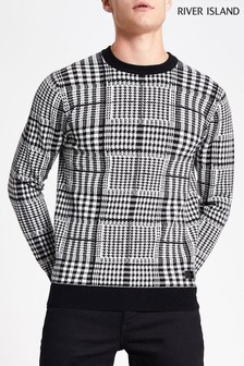 River Island All Over Prince Of Wales Check Jumper