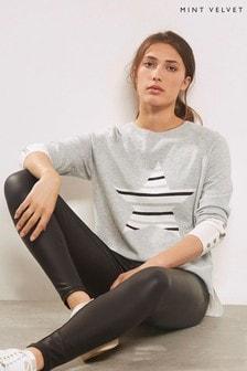 Mint Velvet Blocked Stripe Front Star Knit