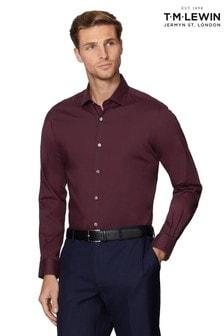 T.M. Lewin Wine Premium Stretch Slim Fit Single Cuff Shirt