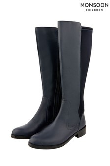 Monsoon Blue Olive Long Stretch Leather Boots