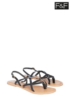 F&F Black Leather Strappy Sandals