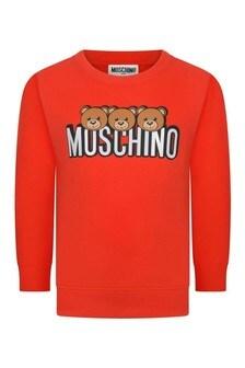 Kids Red Cotton Logo Print Sweater