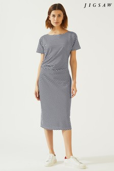 Jigsaw Blue Stripe Asymmetric Dress