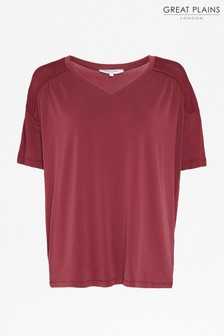 Great Plains Burgundy Leah Jersey V-Neck T-Shirt