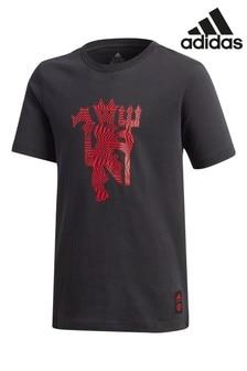 adidas Black Manchester United Graphic T-Shirt
