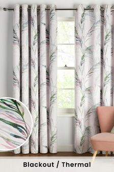 White Feather Leaf Print Blackout/Thermal Eyelet Curtains