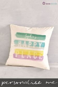 Personalised Happy Place Cushion by Loveabode