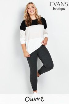 Evans Curve Grey Ponte Popper Leggings
