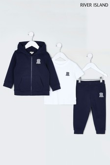 River Island Navy Hoodie And Joggers 3 Piece Set