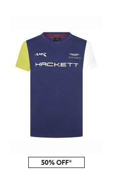 Hackett London Kids Boys Blue Cotton T-Shirt