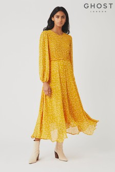 Ghost London Yellow Margaux Leopard Print Georgette Dress