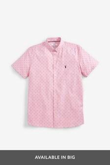 Print Slim Fit Short Sleeve Stretch Oxford Shirt