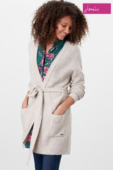 Joules Natural Alba Knitted Cardigan With Belt