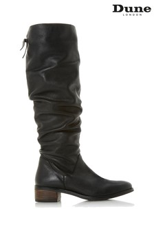 Dune London Tabatha Black Leather Ruched Flat Knee High Boots