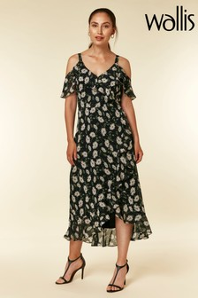 Wallis Black Daisy Floral Midi Dress