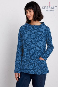 Seasalt Petite Blue Sketched Motif Sweatshirt