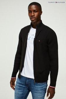 Tommy Hilfiger Blue Bold Structure Zip Through Sweater