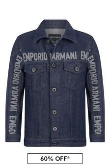 Boys Blue Denim Logo Jacket