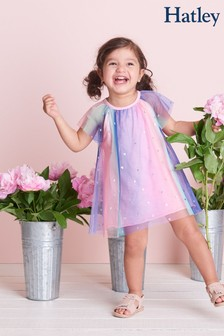Hatley Pink Metallic Hearts Baby Rainbow Tulle Dress