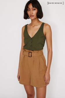 Warehouse Green Pique Button Through Vest Top