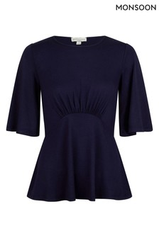 Monsoon Blue Dolly Flute Sleeve Top