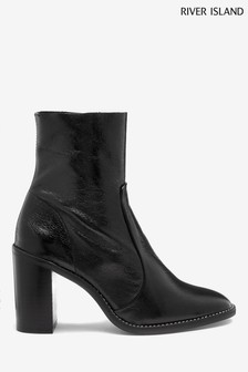 River Island Black Kili Leather Sock Boots