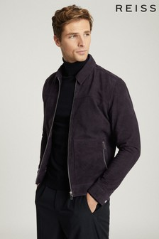 Reiss Blue Lace Suede Zip Through Jacket