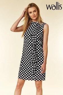 Wallis Black Spot Ruffle Shift Dress