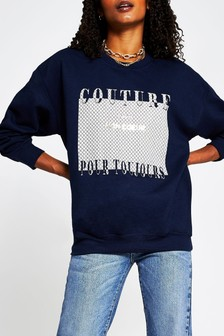 River Island Navy Couture Monogram Sweat Top