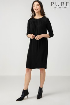 Pure Collection Black Pleat Detail Dress