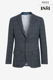 Moss 1851 Tailored Fit Textured Grid Check Jacket