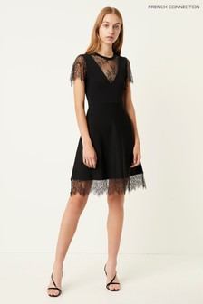 French Connection Black Madalyn Lula Jersey Lace Maxi Dress