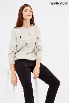 White Stuff Grey Pagoda Pom Jumper