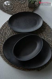 12 Piece Maxwell & Williams Caviar Oval Dinnerware